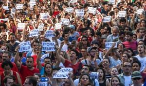São Paulo 15/05/2016 Ato contra Michel Temer na Rua da Cosnolação . Foto Paulo Pinto/Agencia PT